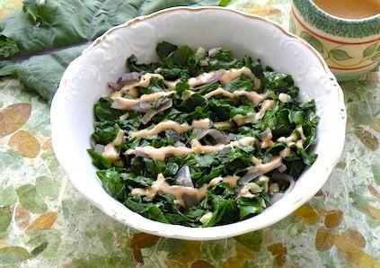 Sautéed Kale with Tahini-Lemon Sauce I added almonds and served over ...