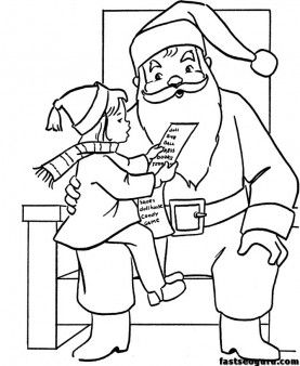 wish list for Christmas Santa coloring pages - Printable Coloring Pages For Kids