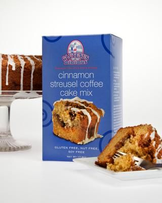 Cinnamon Streusel Coffee Cake mix, Glutenus Minimus: This gluten-free cake mix contains no nuts or soy, and is easy to bake. In addition to ready-made mixes, Glutenus Minimus also sells gluten-free cookies, muffins, breads and cupcakes at its bakery.