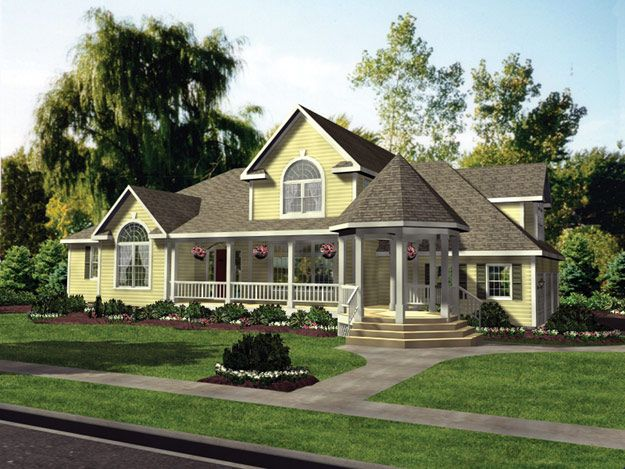 This spacious four bedroom home is welcoming with its for House plans with gazebo porch