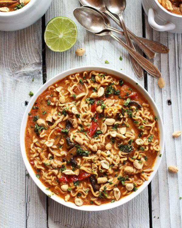 Thai Peanut Chicken and Ramen Noodle Soup
