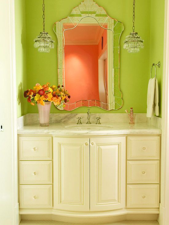 Bold Green Bath light fixtures !!!!