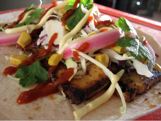 "A recipe for Miso Tofu Tacos with Pickled Red Onions, inspired by ""United States of Tara"""