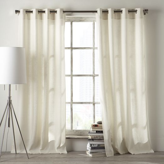 Linen Cotton Grommet Curtain - White | West Elm - for your bedroom, in ...