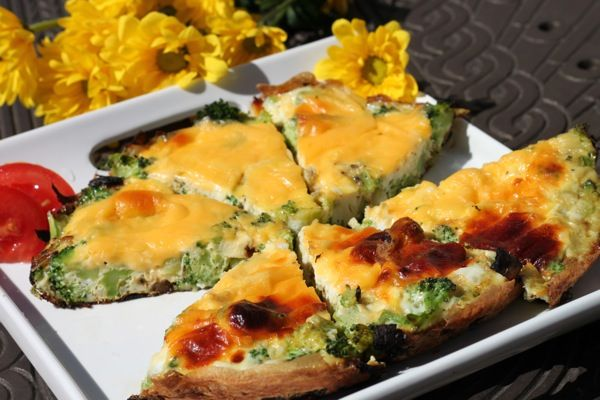 Broccoli, Onion & Cheese Spring Frittata Wedges Frittata - Mother's ...