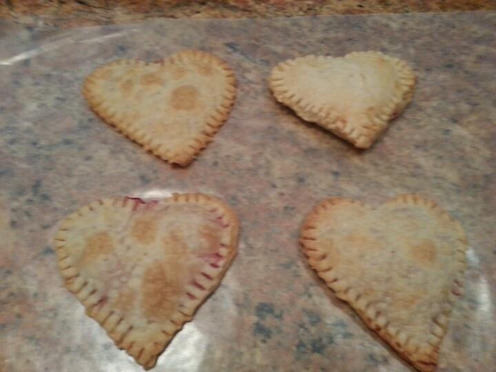 Raspberry cream cheese filled heart tarts