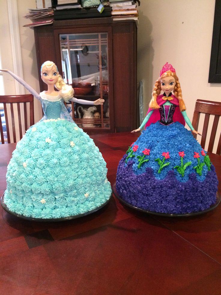 Frozen - Elsa and Anna cakes  Josies Birthday  Pinterest