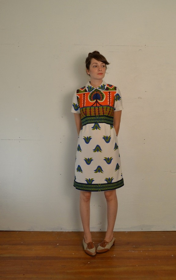 I might not be able to pull it off, but boy is this1960s Loud Print Dress cool!