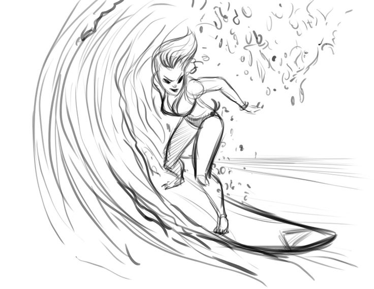 Surfing sketch
