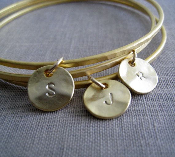 personalized gold bangles set of 3 custom initial by NYmetals, $32.00