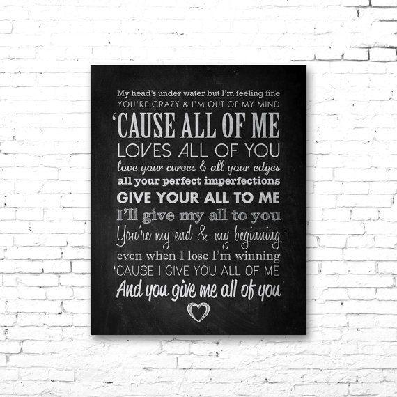 "JOHN LEGEND ""All of Me"" - PRINTABLE Song Lyrics Artwork ..."