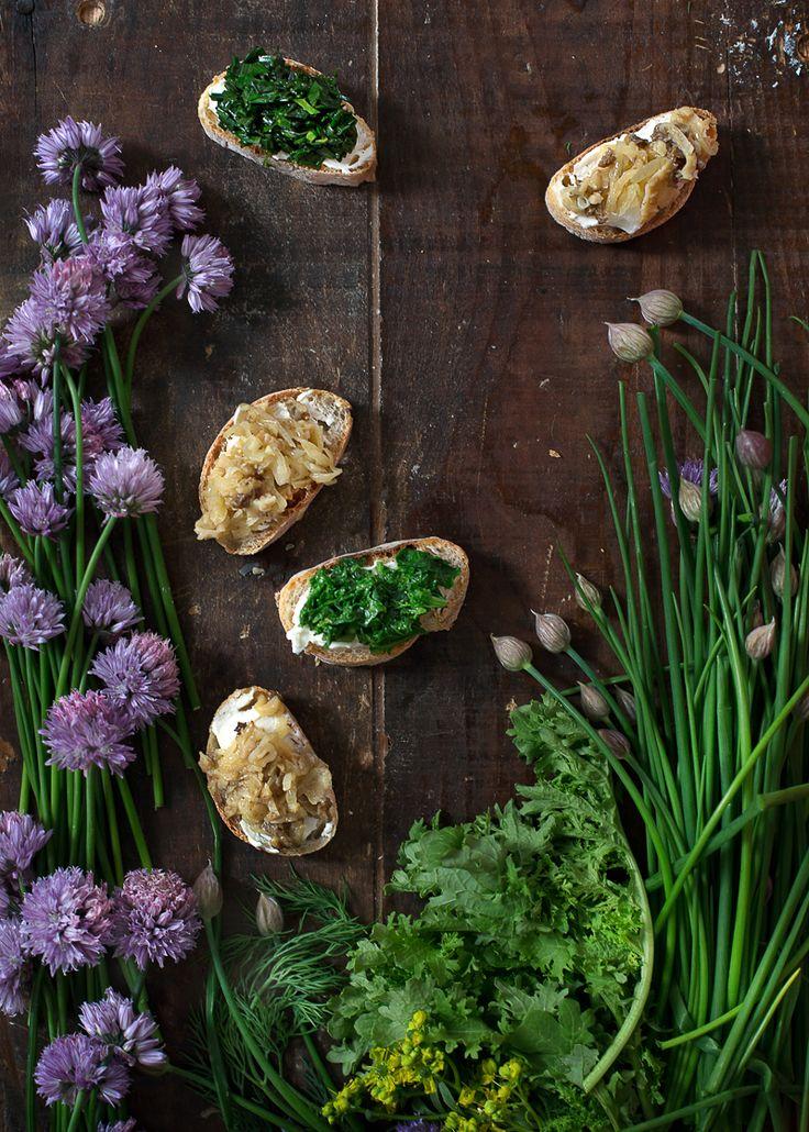 Crostini with Morels, Wild Greens Mascarpone