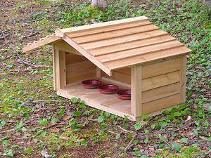 Outdoor Cedar Cat Dog Rabbit Feral Feeding Station Food Shelter House ...