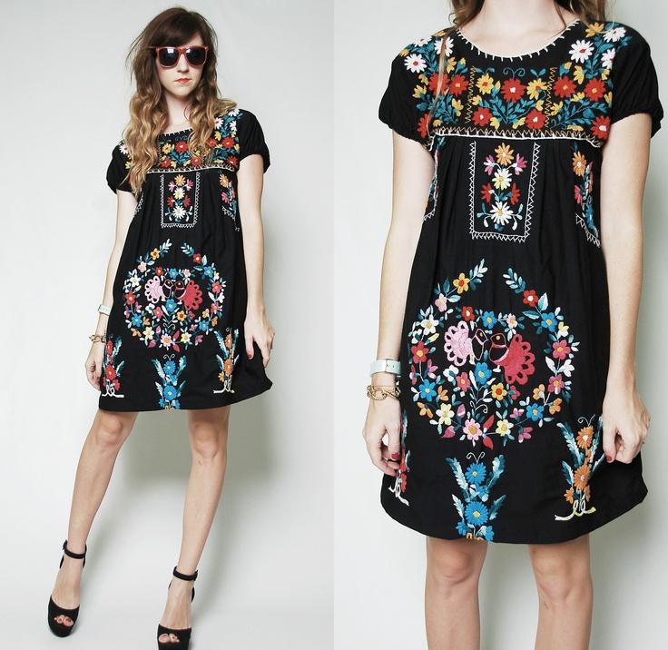 Vintage 70s mexican oaxacan embroidered bird boho mini dress hippie