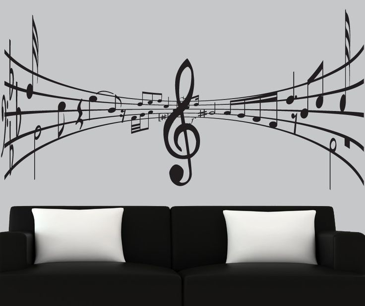 modern vinyl wall decal 3d music notes decal black. Black Bedroom Furniture Sets. Home Design Ideas
