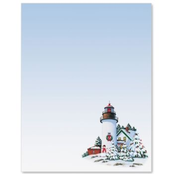 Lighthouse at Christmas Letter Paper   Stationery   Pinterest