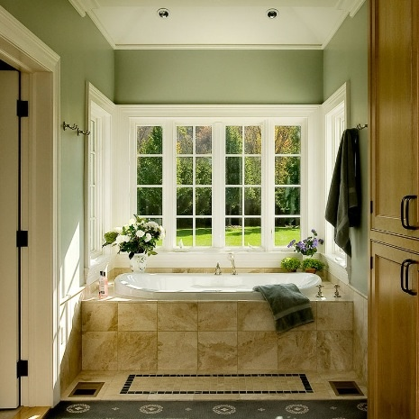 Sage Green Walls Beige Tub Romantic Bathrooms Pinterest