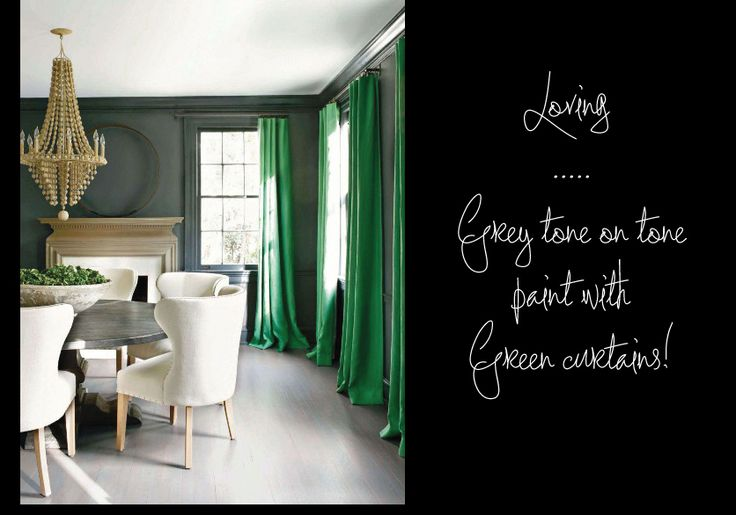 dark grey walls and green curtains | Living Room | Pinterest 736 x 515