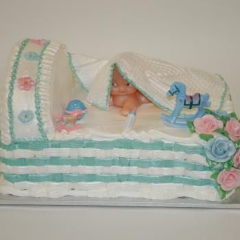 Porto's Bakery in Burbank, CA - Baby Shower Cake: Baby Bassinet Cake