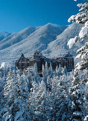 Fairmont Banff Springs Hotel, the view from Surprise Corner in winter.