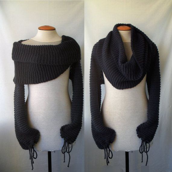 Free Crochet Pattern For Shawl With Sleeves : Scarf with sleeves at both ends in light grey. FREE ...