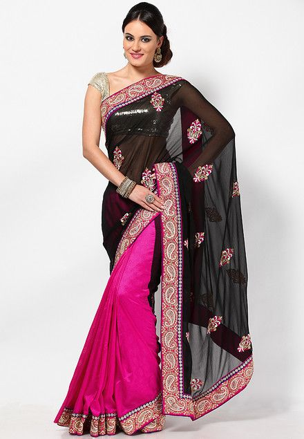 Embroidered Black Saree   A little bit of India   Pinterest