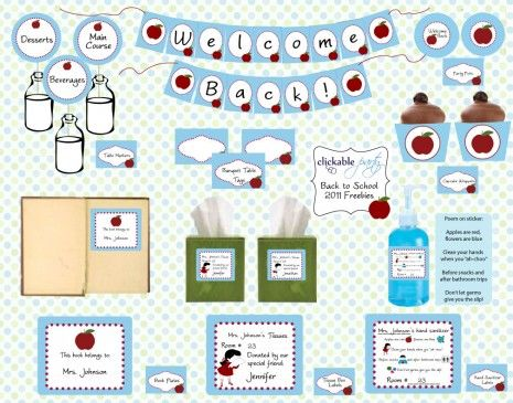 Printables for back to school party! Super cute!