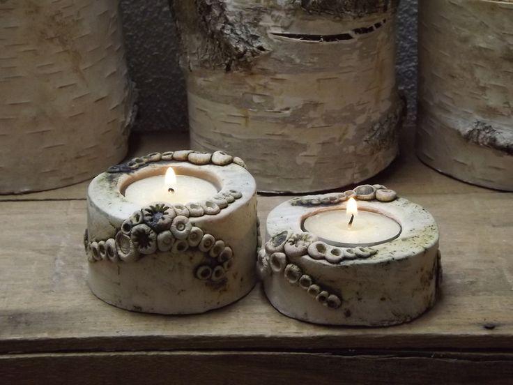 2er Set Elfen Licht Keramik Unikat Teelichthalter