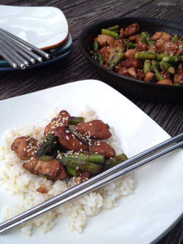 Chicken & Asparagus Stir Fry: sesame oil, sesame seeds, honey ...
