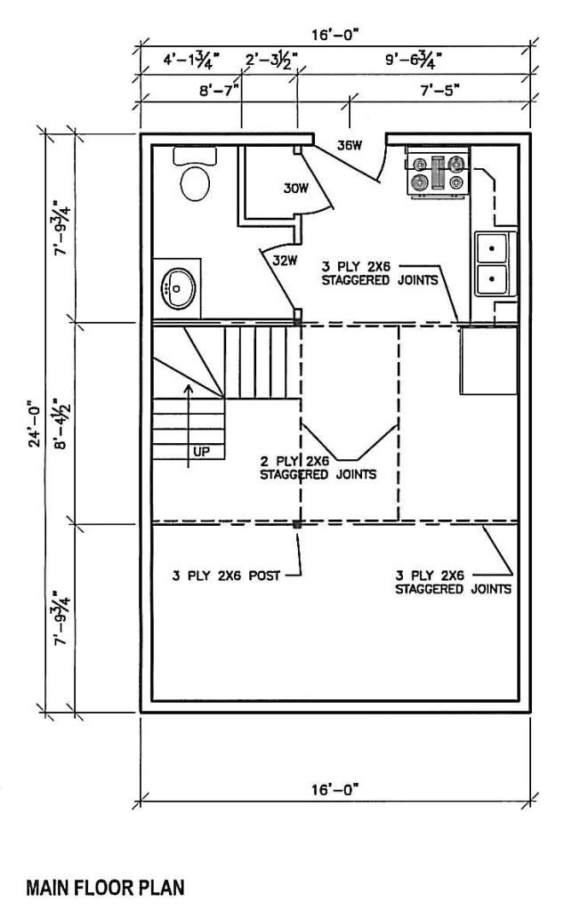 28 16 X 24 Cabin Plans Floor Plan 16x24 Trend Home