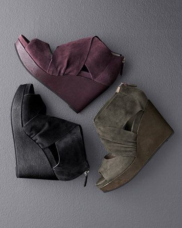 eileen fisher draw suede wedge shoes
