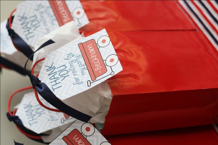 Cute party favor tag for this red wagon birthday party!