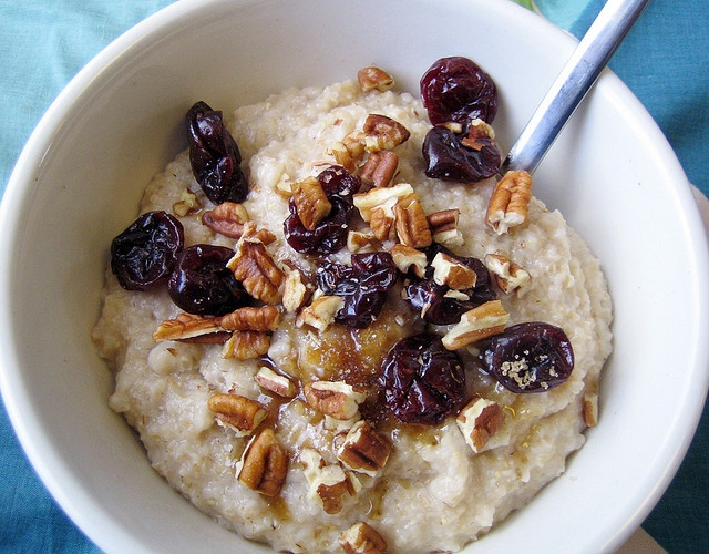 Oatmeal with dried cherries and nuts. | Food | Pinterest