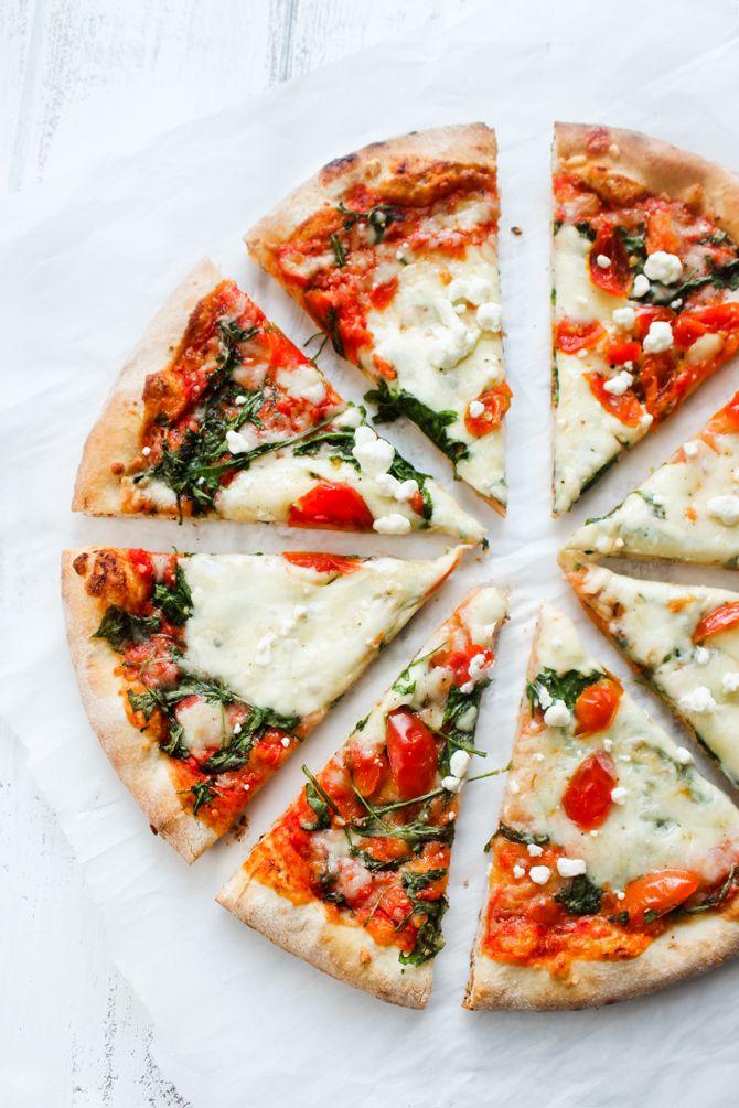 Mediterranean Arugula & Cherry Tomato pizza | Recipe