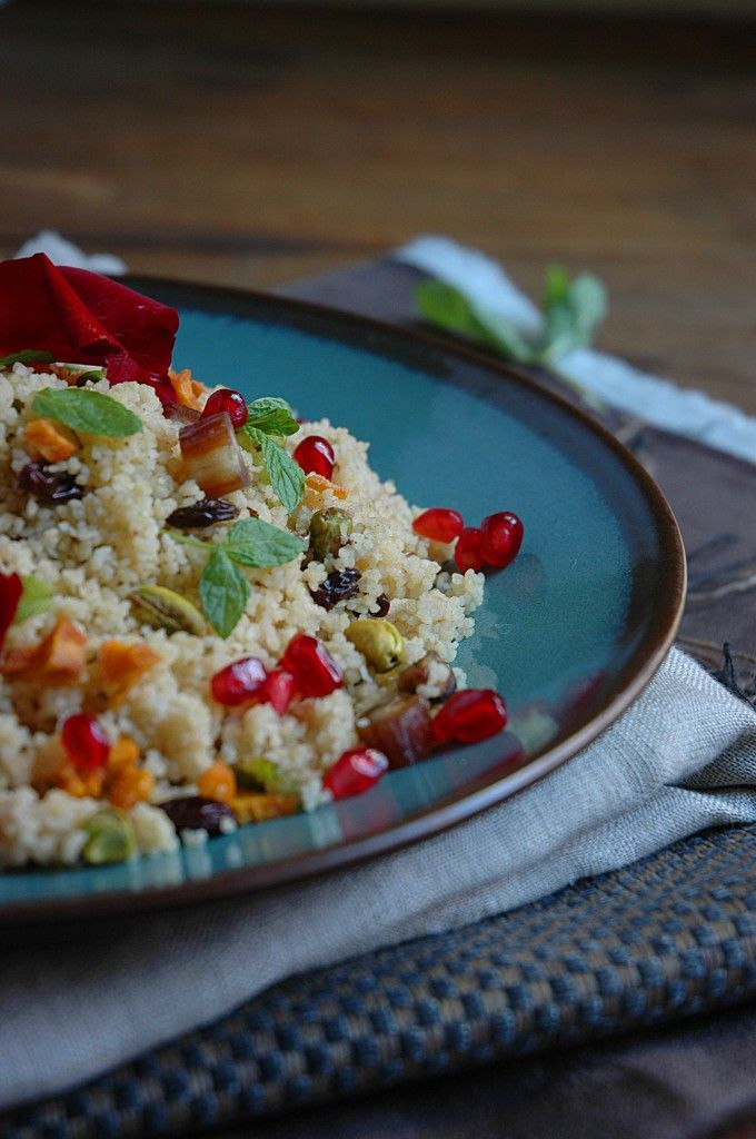 Moroccan Couscous with Chicken Breasts, Pistachios, Pomegranates ...
