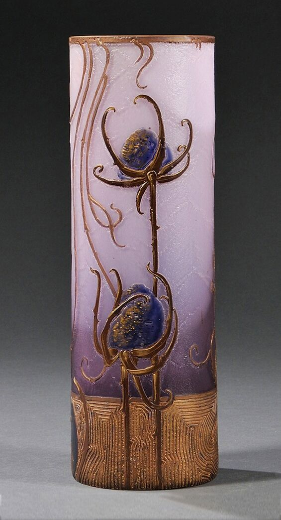 Mont Joye Thistle Vase ~ Thistle flowers are acid etched and it has extensive gilding ~ The base is very Wiener Werkstatte in design