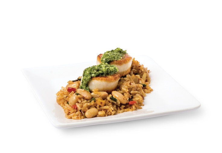 "Seared Scallops with Choriso, White Kidney Bean ""Dirty Rice"" & ..."