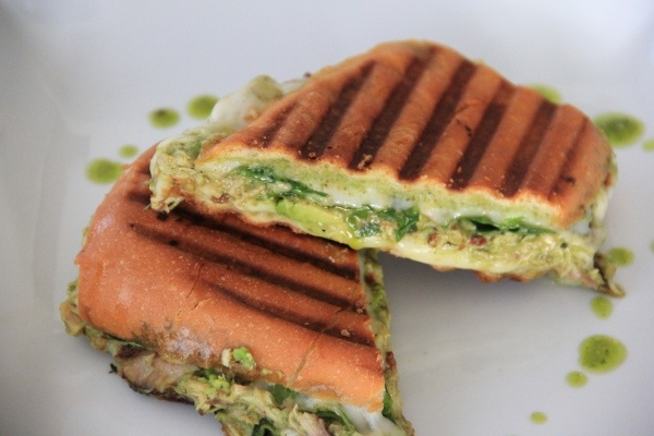 chicken pesto panini with sundried tomatoes, avocado, provolone and ...
