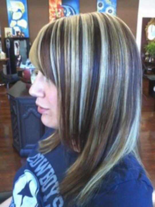 Chunky highlights- red, brown, & blonde | Highlights on Dark Hair ...