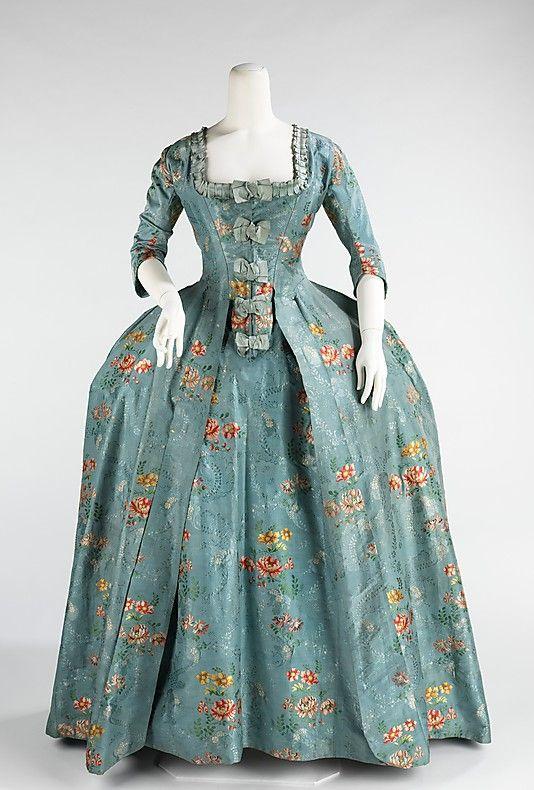 Silk and cotton robe à la Française, French, 1760-70.