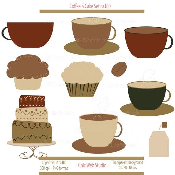 Coffee Cake Clipart Digital Clip Art Coffee Mugs Cupcake ...