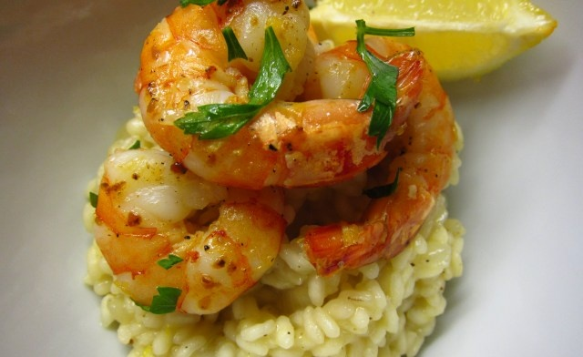 Citrus risotto with garlic chilli prawns | Seafood/Fish | Pinterest
