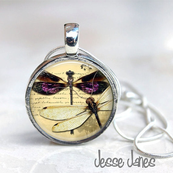 MAGNETIC Toppers Button Necklace  DRAGONFLY Art  by jessejanes, $18.95
