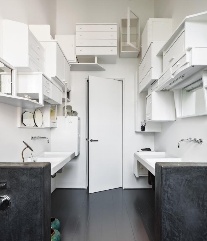 diy bathroom storage as art installation by
