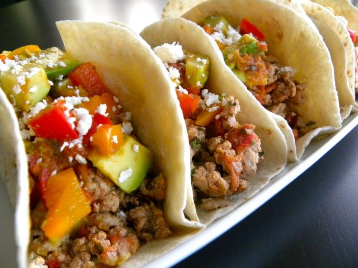 Spiced ground pork tacos with sweet n' spicy, bell pepper avocado ...