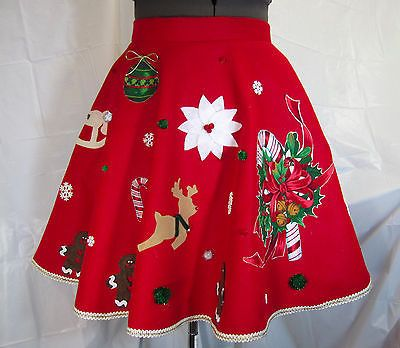 FREE EARRINGS! Ugly Red Christmas Sweater Skirt Adjustable to Plus Si