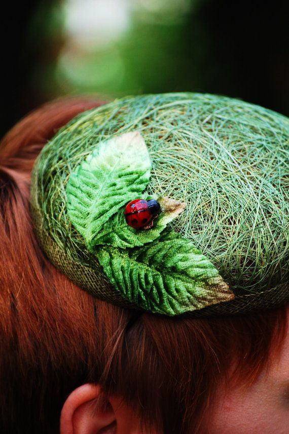Green Cocktail hat Ladybug in the grass by RedDragonflyAKATOMBO, £69 ...