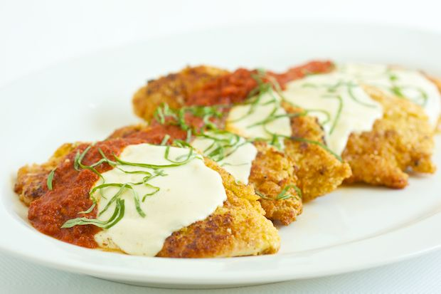 Chicken Parmesan--A light, crispy coating made healthier. Browned on ...