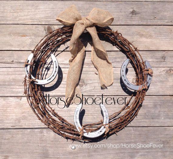 Horseshoe barb wire wreath glittered western home decor Western home decor craft ideas