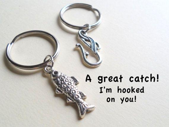 Couple keychain set fish hook key ring gift key chain for Fish hook keychain